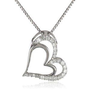 2 Carats round diamond double heart pendant solid